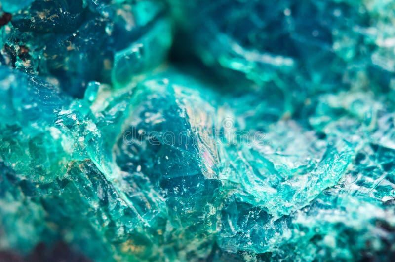 Textuurkristal Mooie natuurlijke turkooise achtergrond Macro stock foto