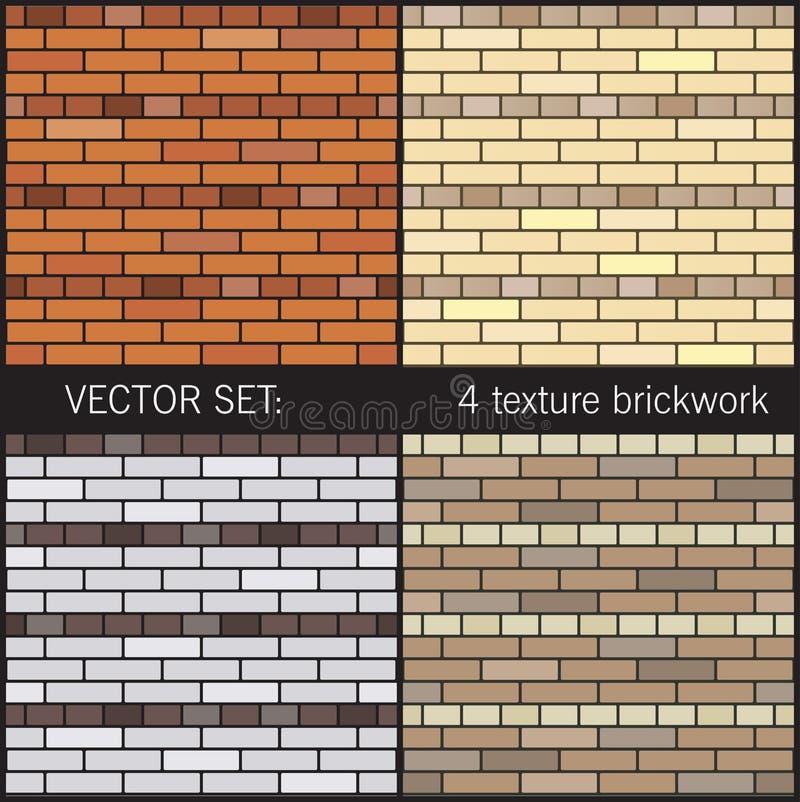 4 textuurmetselwerk vector illustratie