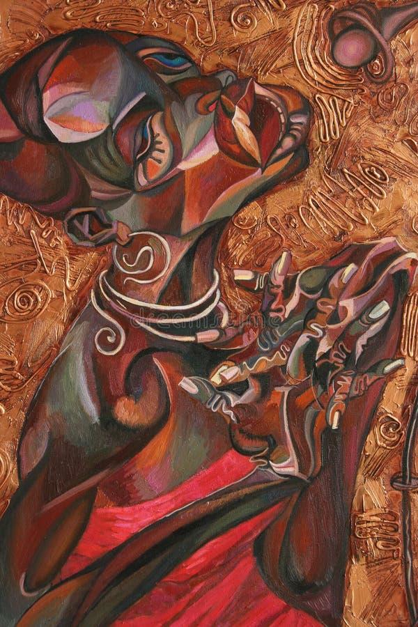 Textuurolieverfschilderij, schilderende auteur Roman Nogin, een reeks van `-Jazz ` royalty-vrije illustratie