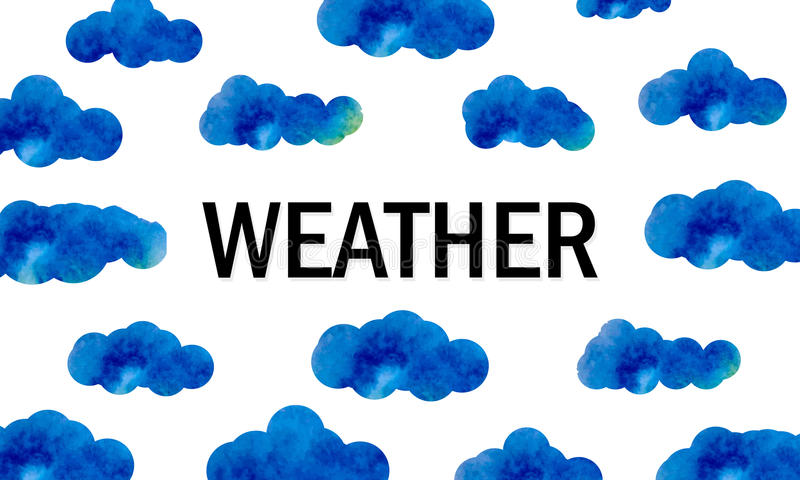 Textväder bland blåa vattenfärgmoln clouds skyen Bakgrunden för skapelsen av väderrapporter och väder för vektor illustrationer