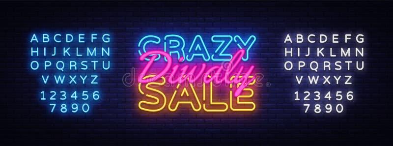TEXTvektor-Designschablone verrückten Verkaufs Diwali Neon Neonlogo des Diwali-Festival-Angebot-großen Verkaufs, helles Fahnendes vektor abbildung