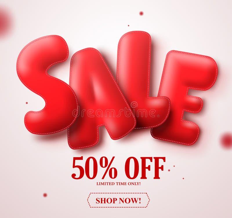 Textvektor-Fahnendesign des Ballons 3D des Verkaufs rotes mit 50% weg im Weiß stock abbildung