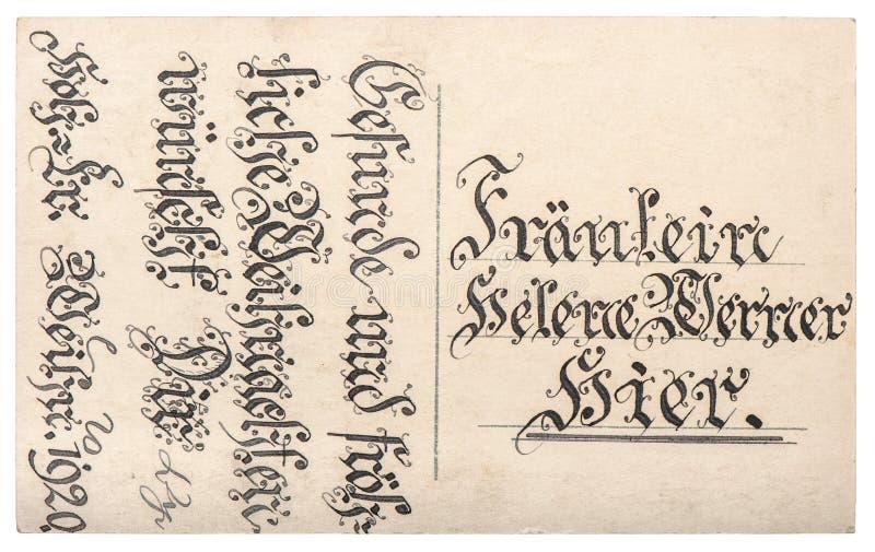 Textweinlese-Beschaffenheit backg der alten Postkarte handgeschriebenes kalligraphisches stockfotografie