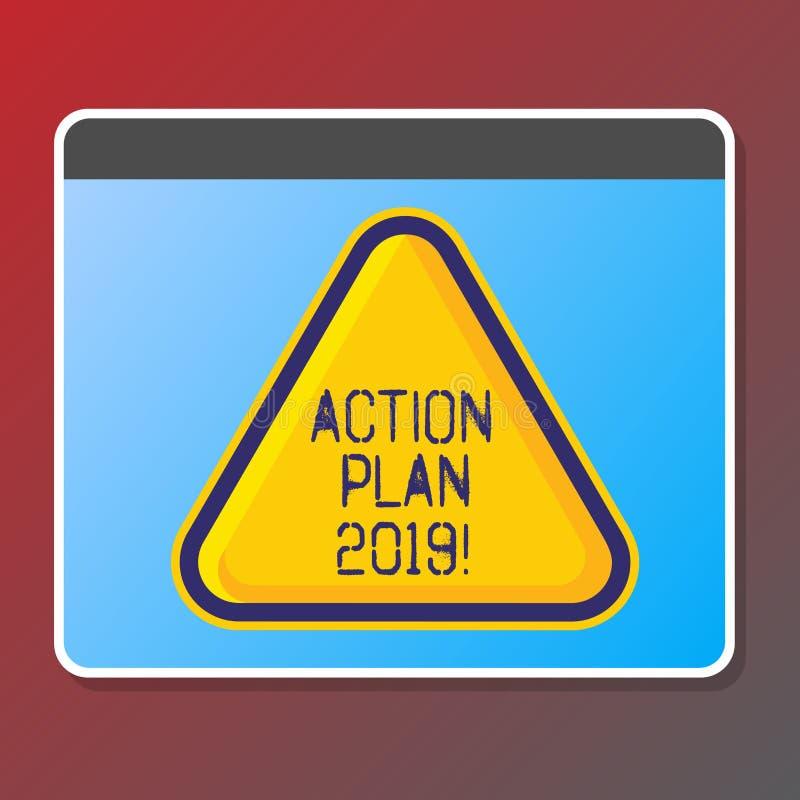 Textzeichen, das Aktionsplan 2019 zeigt Begriffsfoto, zum der Liste in Entschließungsziele Zielen des neuen Jahres des neuen Jahr stock abbildung