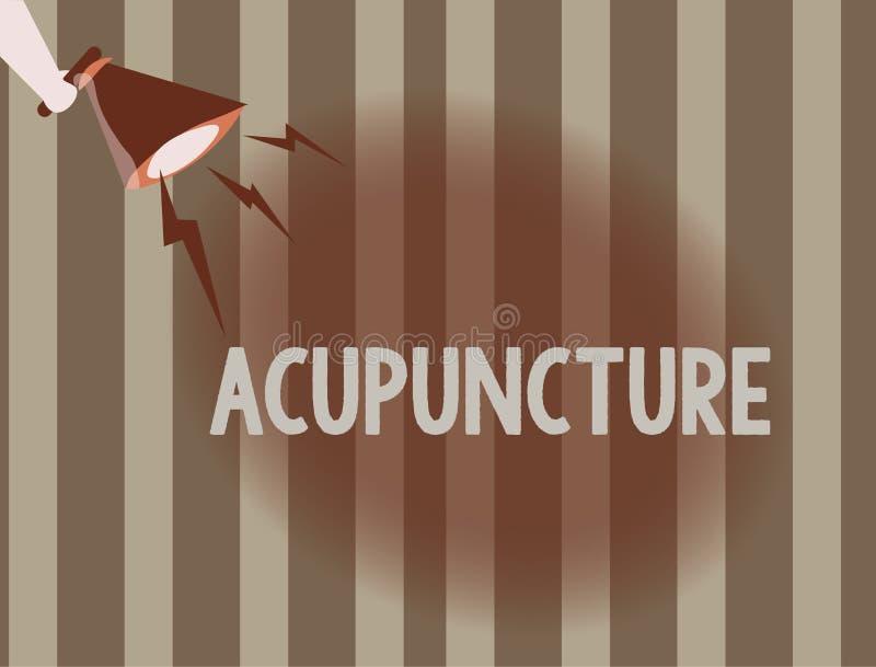 Textzeichen, das Akupunktur zeigt Alternative Behandlung Therapie des Begriffsfotos für die Schmerz und Krankheit unter Verwendun vektor abbildung