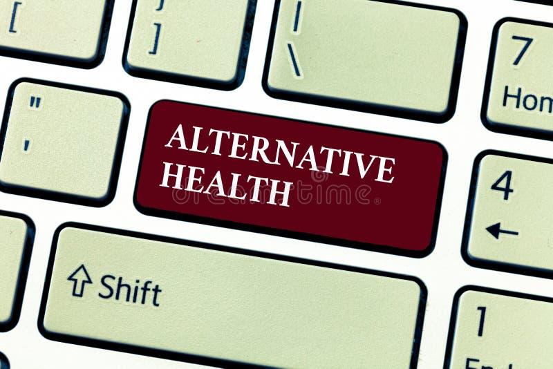 Textzeichen, das alternative Gesundheit zeigt Begriffsfoto Arztpraxen, die nicht Teil Standardsorgfalt sind stock abbildung