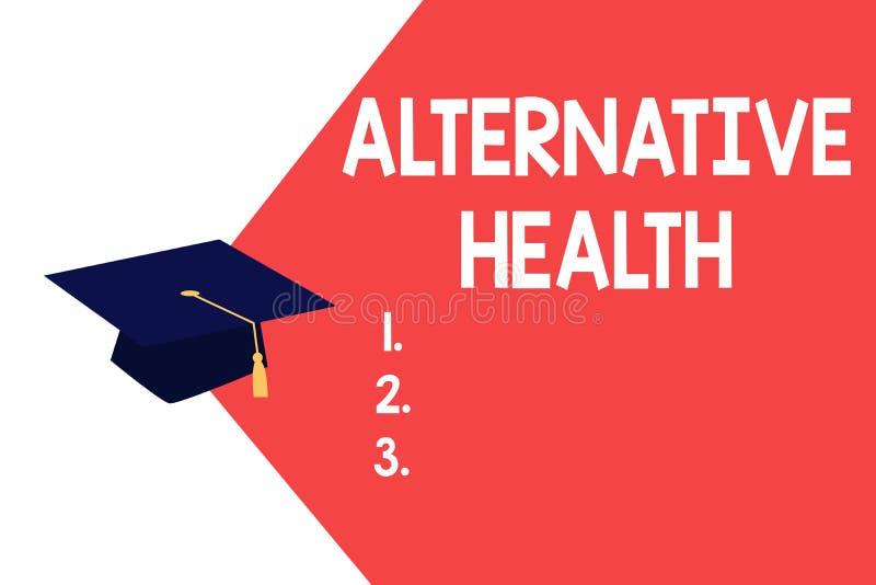 Textzeichen, das alternative Gesundheit zeigt Begriffsfoto Arztpraxen, die nicht Teil Standardsorgfalt sind lizenzfreie abbildung
