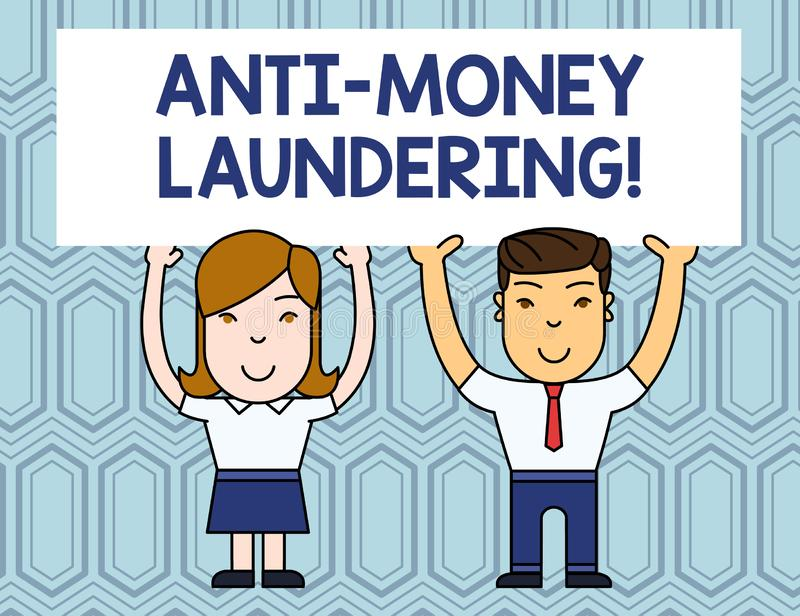 Textzeichen, das Antigeldw?sche zeigt Begriffsfotohalt, der Einkommen durch die lächelnden rechtswidrigen Verhalten zwei erzeugt stock abbildung