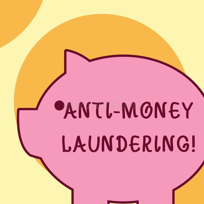 Textzeichen, das Antigeldw?sche zeigt Begriffsfotoregelungen h?ren auf, Einkommen durch rechtswidrige Verhalten zu erzeugen stock abbildung