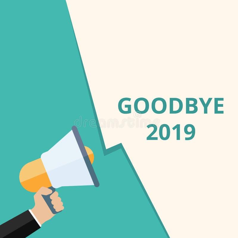 Textzeichen, das Auf Wiedersehen 2019 zeigt vektor abbildung