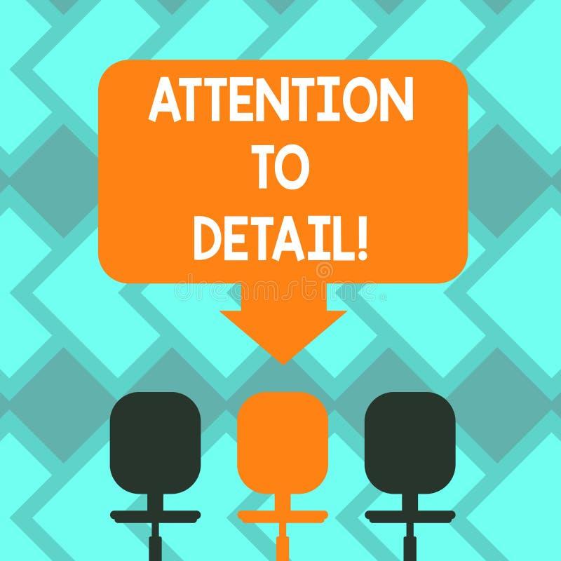 Textzeichen, das Aufmerksamkeit zum Detail zeigt Begriffsfotofähigkeit, Gründlichkeit und Genauigkeit in Aufgabe Leerstelle zu er stock abbildung
