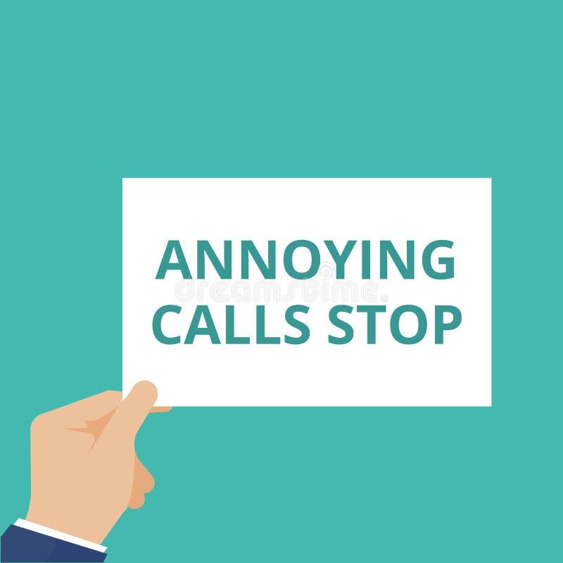 Textzeichen, das Belästigungsanruf-Halt zeigt stock abbildung