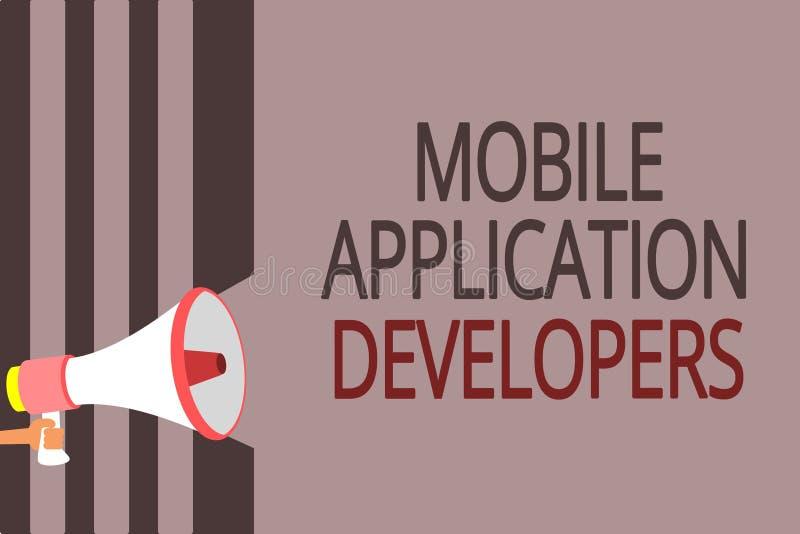 Textzeichen, das bewegliche Anwendungs-Entwickler zeigt Begriffsfoto schaffen Software für Geräte wie Android-Megaphonlautspreche vektor abbildung