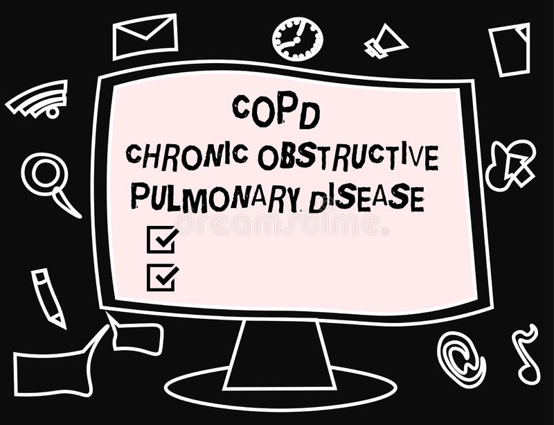 Textzeichen, das Copd-chronisch obstruktive Lungenerkrankung zeigt Begriffsfoto Lungenerkrankung Schwierigkeit zum Atem lizenzfreie abbildung