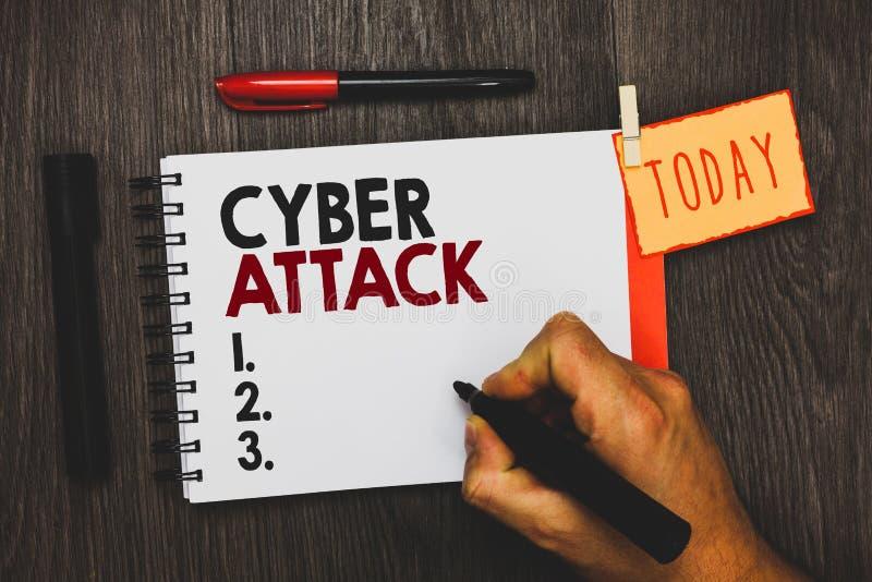 Textzeichen, das Cyber-Angriff zeigt Begriffsfoto ein Versuch durch Häcker zu beschädigen zerstören einen Computersystem-Mann, de lizenzfreie stockfotos