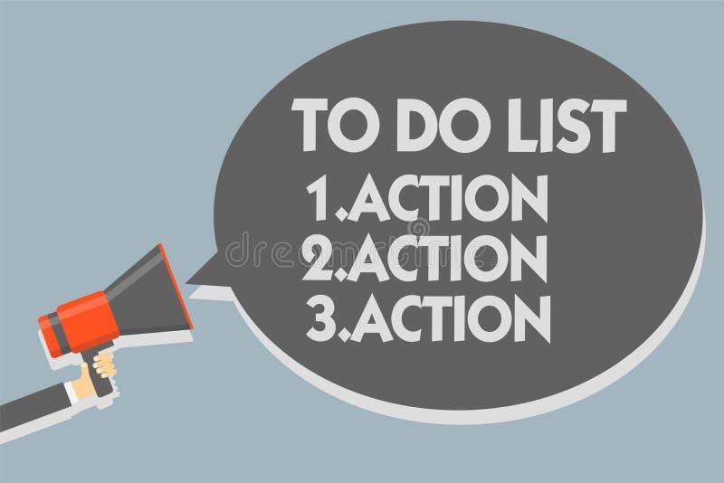Textzeichen, das darstellt, um Liste 1 zu tun Aktion 2 Aktion 3 tätigkeit Begriffsfoto, das Tagesprioritäten in Bestellung Mann h stock abbildung