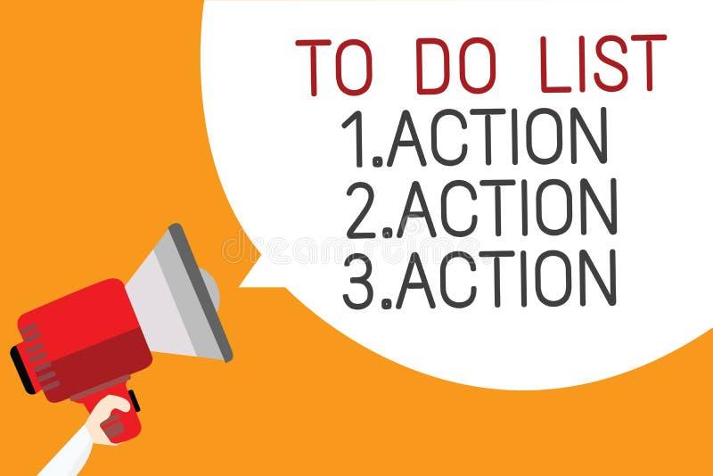 Textzeichen, das darstellt, um Liste 1 zu tun Aktion 2 Aktion 3 tätigkeit Begriffsfoto, das Tagesprioritäten in Bestellung Mann h lizenzfreies stockfoto