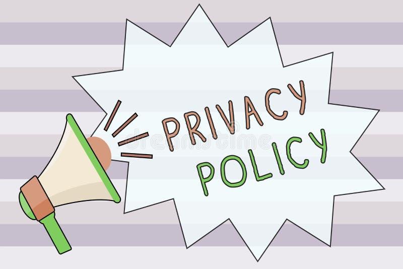 Textzeichen, das Datenschutzerklärung zeigt Begriffsfoto Dokument, das erklärt, wie eine Organisation Kunden behandelt lizenzfreie abbildung