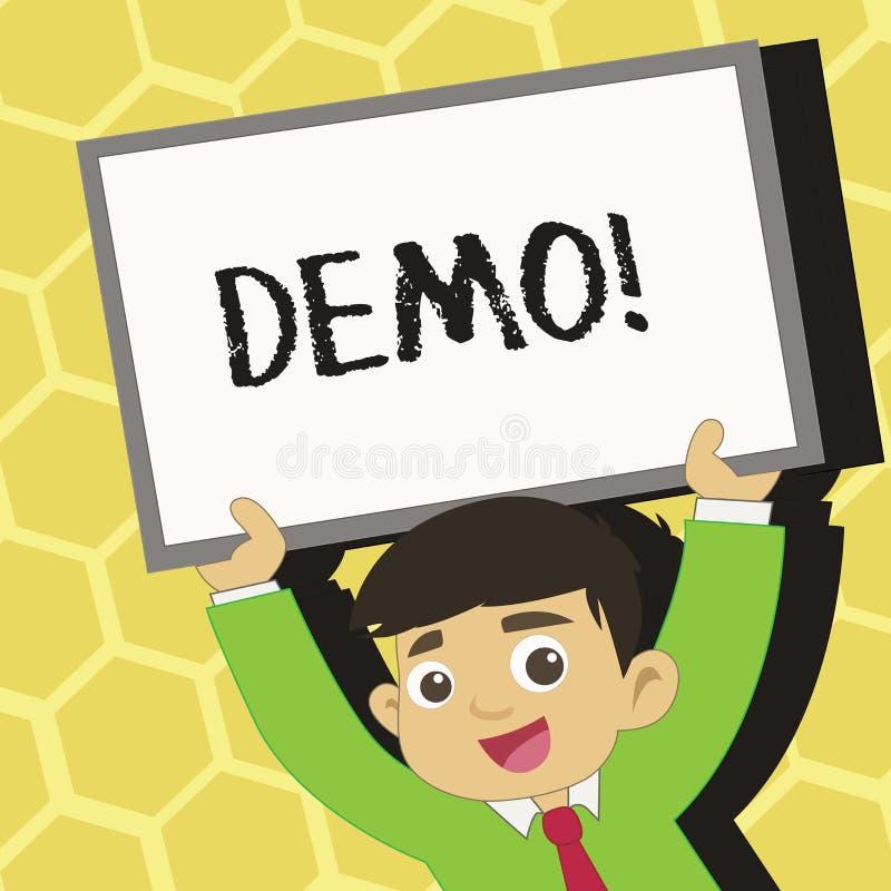 Textzeichen, das Demo zeigt Begriffs- Foto Probe-Beta Version Free Test Sample-Vorschau von etwas Prototyp-Junge vektor abbildung