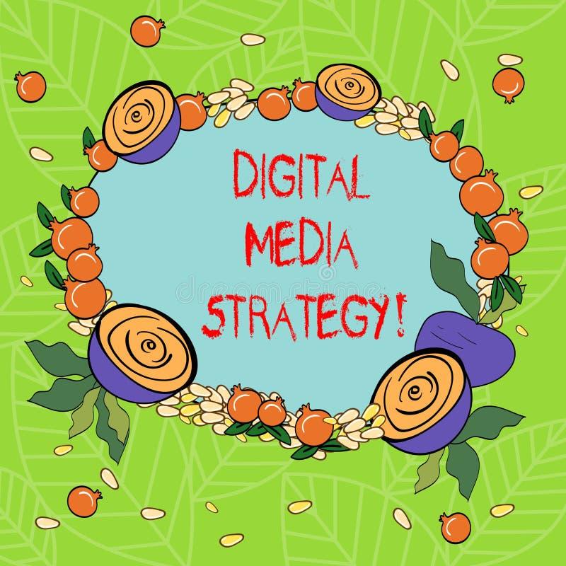 Textzeichen, das Digital Media-Strategie zeigt Begriffsfotoplan für die Maximierung des Geschäftsnutzens der Anlagegüter mit Blum lizenzfreie abbildung