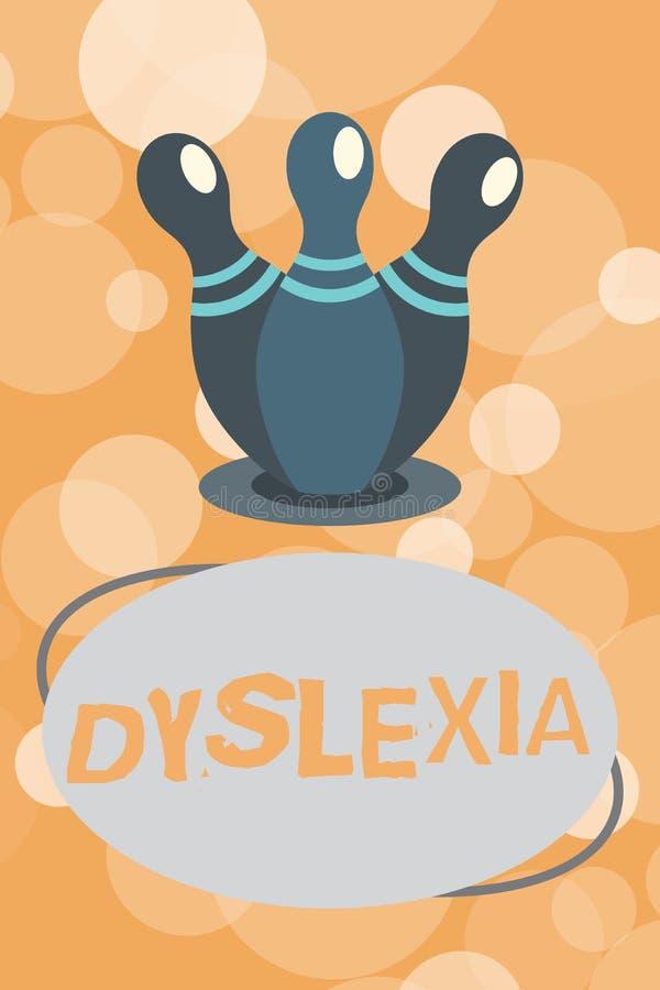 Textzeichen, das Dyslexie zeigt Begriffsfoto Störungen, die Schwierigkeit beim Lernen zu lesen und zu verbessern miteinbeziehen stock abbildung