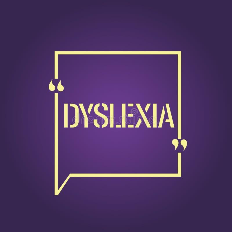 Textzeichen, das Dyslexie zeigt Begriffsfoto Störungen, die Schwierigkeit beim Lernen zu lesen und zu verbessern miteinbeziehen vektor abbildung