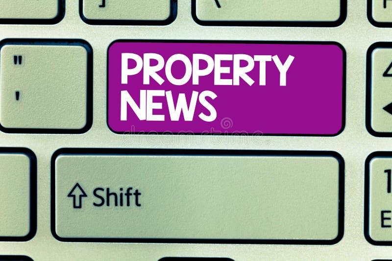 Textzeichen, das Eigentums-Nachrichten zeigt Begriffsfoto bezieht den Verkauf und die Miete des Eigentums für geschäftliche Zweck lizenzfreies stockbild