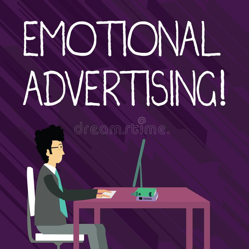 Textzeichen, das emotionale Werbung zeigt Begriffsfotoüberzeugungsmethode verwendete, um emotionales Feedback zu schaffen vektor abbildung