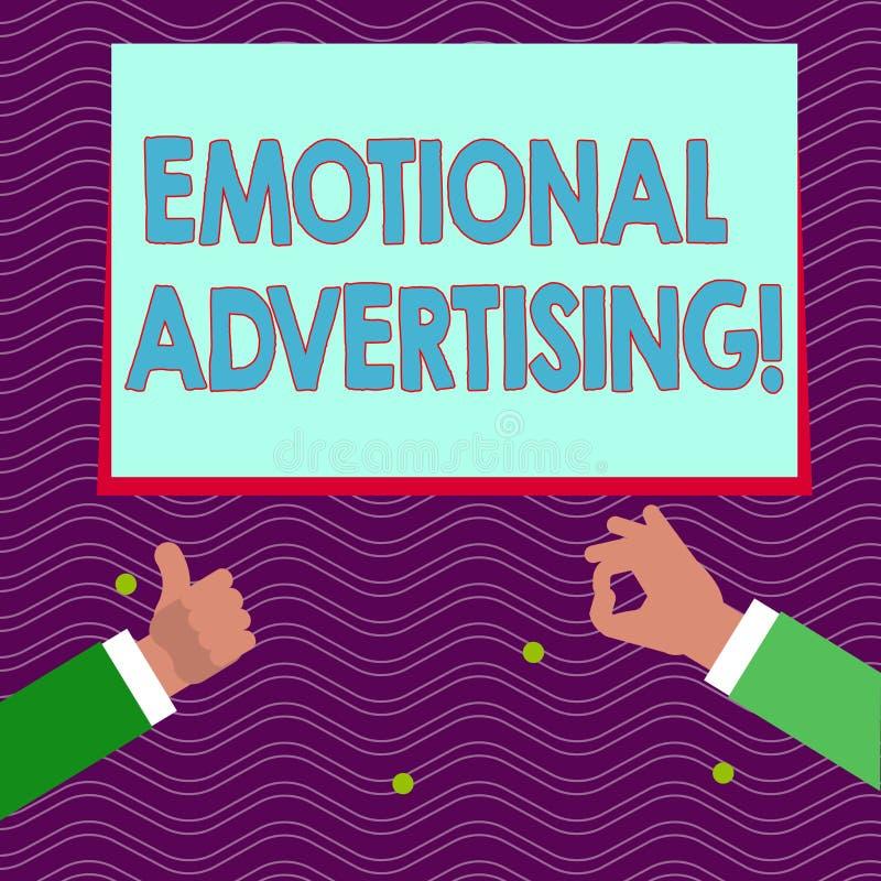 Textzeichen, das emotionale Werbung zeigt Begriffsfotoüberzeugungsmethode verwendete, um emotionales Feedback zwei zu schaffen stock abbildung
