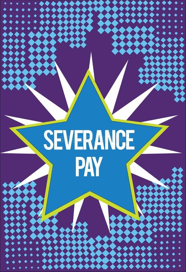 Textzeichen, das Entlassungsabfindung zeigt Begriffsfoto Menge zahlte einem Angestellten auf der Beendigung eines Vertrages vektor abbildung