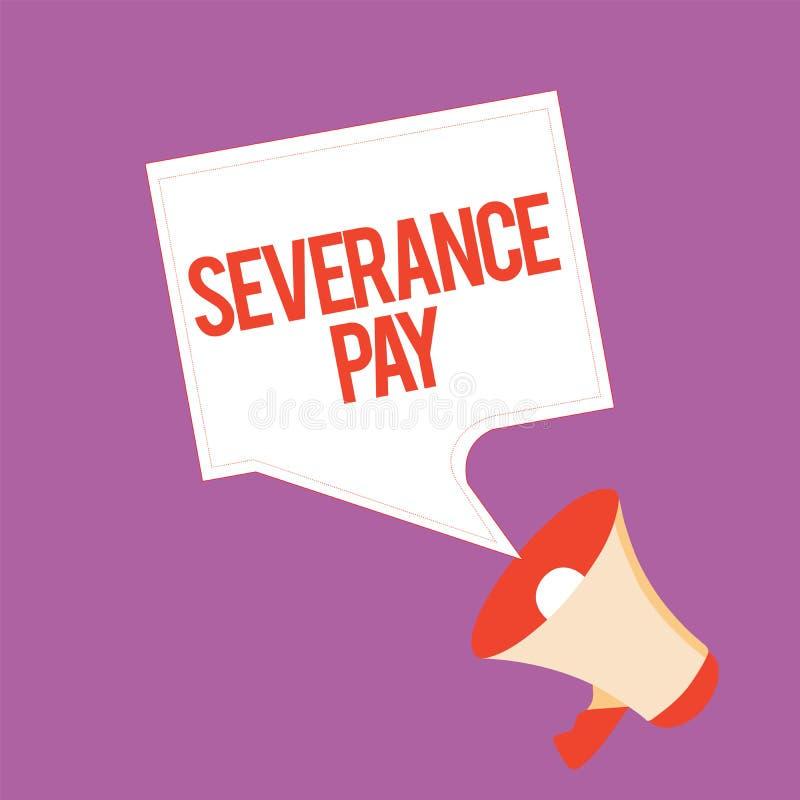 Textzeichen, das Entlassungsabfindung zeigt Begriffsfoto Menge zahlte einem Angestellten auf der Beendigung eines Vertrages lizenzfreie abbildung