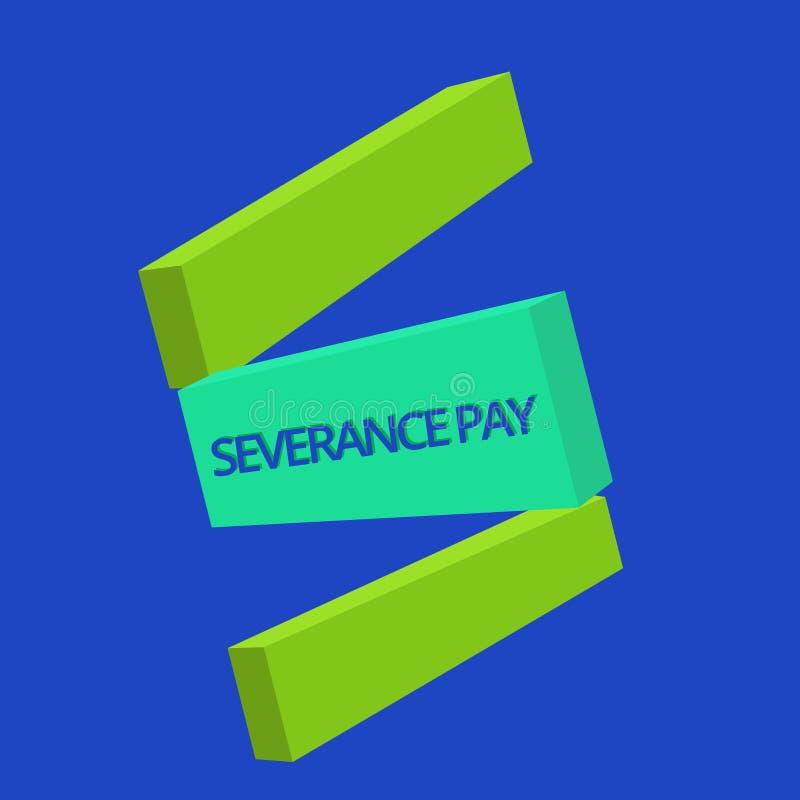Textzeichen, das Entlassungsabfindung zeigt Begriffsfoto Menge zahlte einem Angestellten auf der Beendigung eines Vertrages stock abbildung