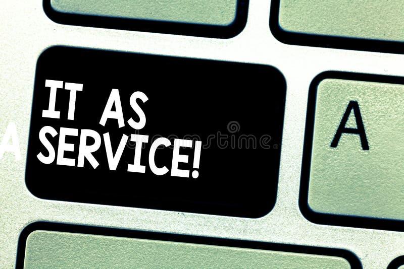 Textzeichen, das es als Service zeigt Begriffsfoto Informationstechnologie, die Dienstleistungen zur Geschäft Taste gibt lizenzfreies stockfoto