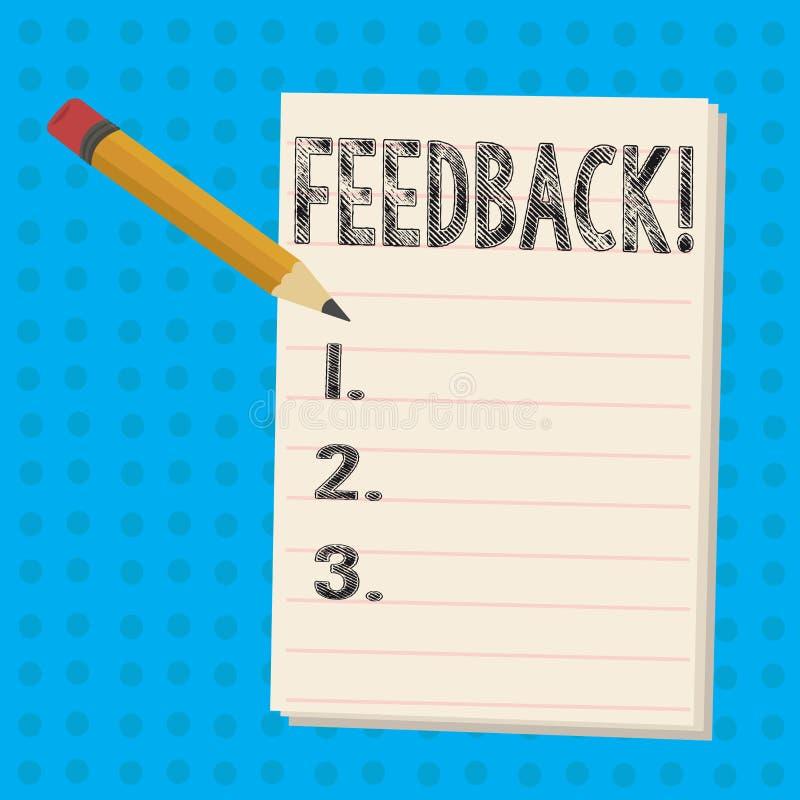 Textzeichen, das Feedback zeigt Begriffsfoto Kunden-Bericht-Meinungs-Reaktions-Bewertung geben einen Wartezurück Bleistift stock abbildung