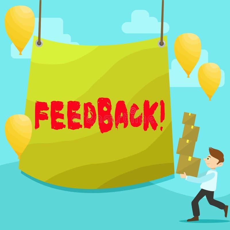 Textzeichen, das Feedback zeigt Begriffsfoto Kunden-Bericht-Meinungs-Reaktions-Bewertung geben einen Wartezurück Mann stock abbildung