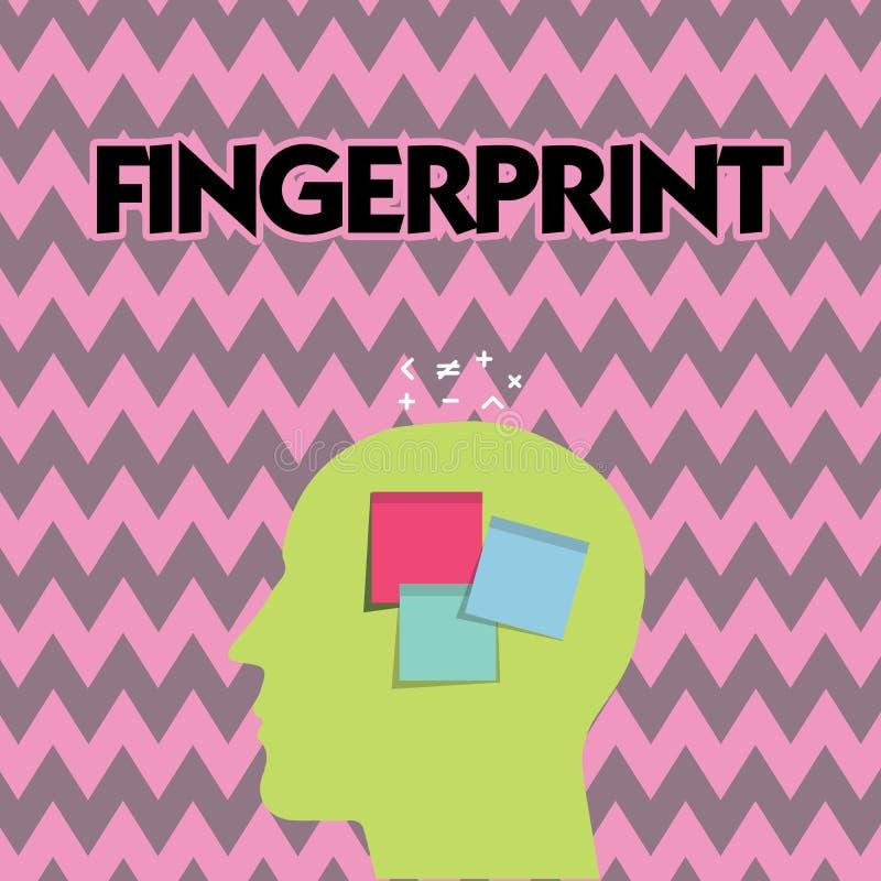 Textzeichen, das Fingerabdruck zeigt Begriffsfotoeindruck oder -kennzeichen gemacht auf einer Oberfläche durch eine zeigende Fing stock abbildung