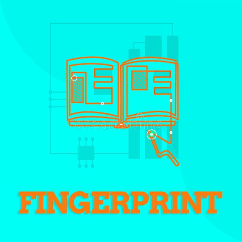 Textzeichen, das Fingerabdruck zeigt Begriffsfotoeindruck oder -kennzeichen gemacht auf einer Oberfläche durch eine zeigende Fing lizenzfreie abbildung