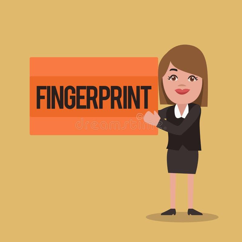 Textzeichen, das Fingerabdruck zeigt Begriffsfotoeindruck oder -kennzeichen gemacht auf einer Oberfläche durch eine zeigende Fing vektor abbildung