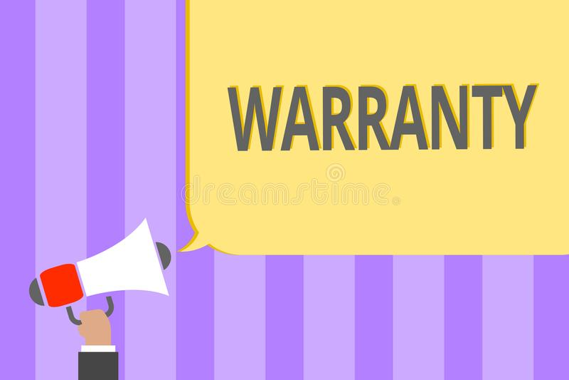 Textzeichen, das Garantie zeigt Begriffsfoto kostenloser Service der Reparatur und Wartung des Produktes den lauten verkauften Me vektor abbildung