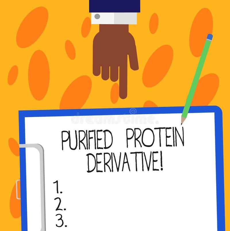 Textzeichen, das gereinigte Protein-Ableitung zeigt Begriffsfoto der Auszug von Mykobakteriumtuberkulose HU-Analyse vektor abbildung