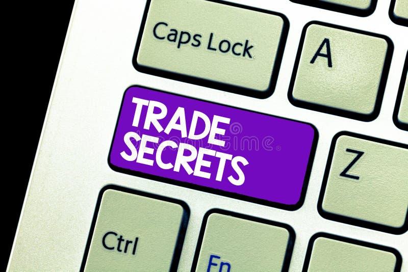 Textzeichen, das Geschäftsgeheimnisse zeigt Begriffsfoto Technik verwendet von einer Firma, wenn seine Produkte analysisufacturin lizenzfreies stockbild