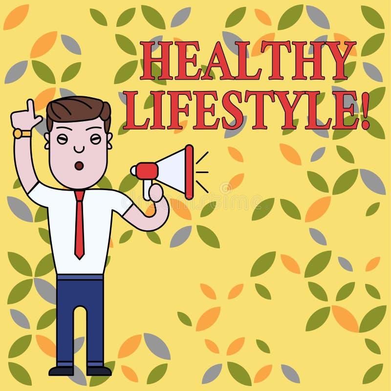 Textzeichen, das gesunden Lebensstil zeigt Begriffsfotoweise des Lebens das senkt das Risiko des Seins ernsthaft kranker Mann vektor abbildung