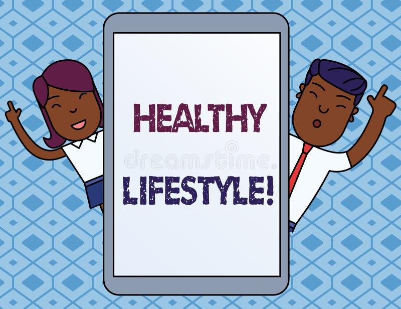 Textzeichen, das gesunden Lebensstil zeigt Begriffsfotoweise des Lebens das senkt das Risiko des Seins ernsthaft kranker Mann und vektor abbildung