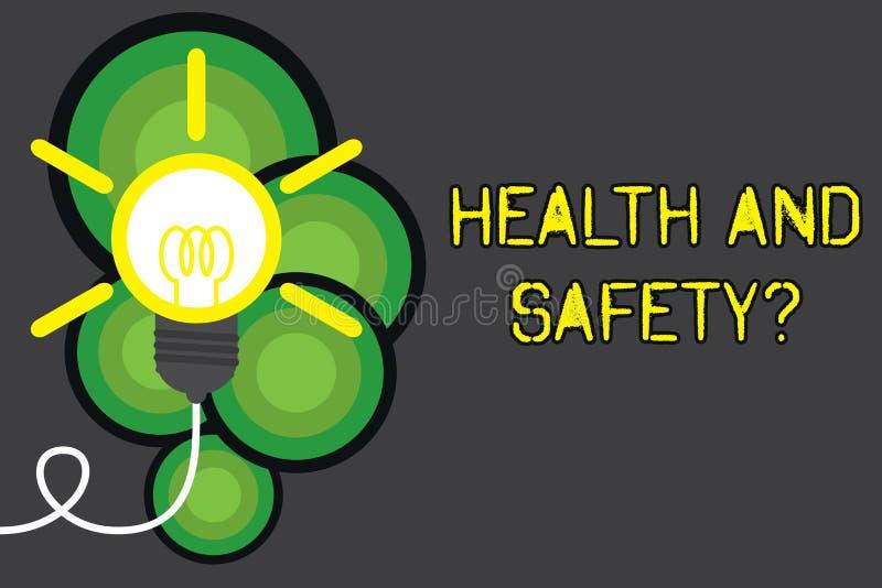 Textzeichen, das Gesundheits-und Sicherheits-Frage zeigt Begriffsfotoregelungen und -verfahren Unfall verhindern gesollt lizenzfreie abbildung
