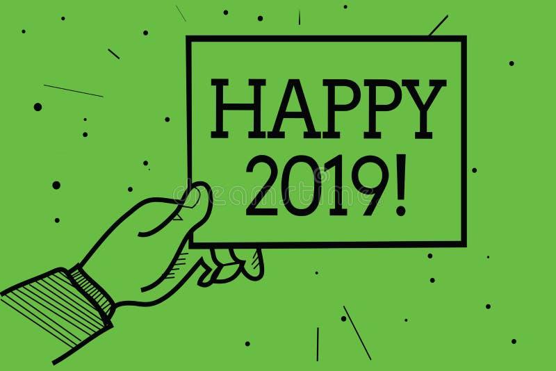 Textzeichen, das glückliches 2019 zeigt Begriffsfotozeit oder -tag, zu denen ein neues Kalenderjahr ab jetzt die Mannhand anfange lizenzfreie abbildung