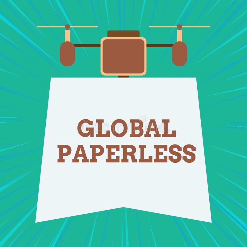 Textzeichen, das globales ohne Papier zeigt Begriffsfoto, das Technologiemethoden wie E-Mail anstelle Papier Brummens anstrebt lizenzfreie abbildung