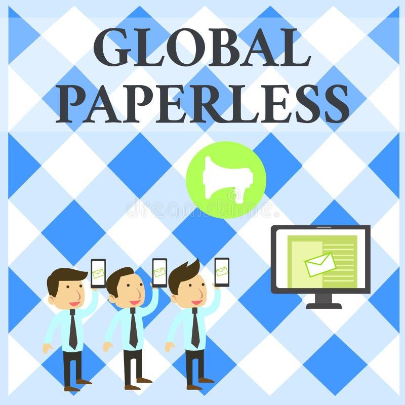 Textzeichen, das globales ohne Papier zeigt Begriffsfoto, das Technologiemethoden wie E-Mail anstelle Papier-SMS-E-Mail anstrebt vektor abbildung