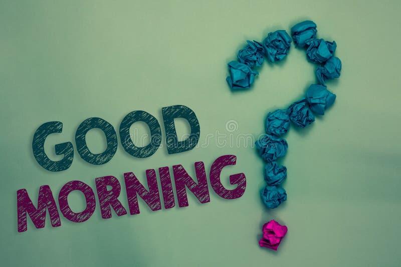 Textzeichen, das guten Morgen zeigt Begriffsherkömmlicher Ausdruck des fotos A an der Sitzung oder an der Trennung zerknitterte m lizenzfreies stockfoto