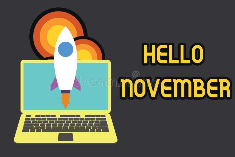 Textzeichen, das hallo November zeigt Begriffsfoto Willkommen der elfte Monat des Jahr Monats vor Dezember vektor abbildung