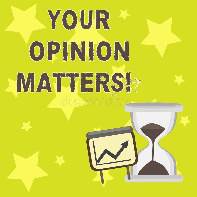 Textzeichen, das Ihre Meinungs-Angelegenheiten zeigt Begriffsfoto Kunden-Feedback-Berichte sind wichtige erfolgreiche Wachstumsta vektor abbildung